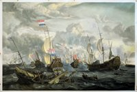abraham painting - The Four Days Battle June by Abraham Storck Top Quality Oil Painting Wall Art H