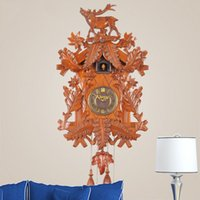 antique chime wall clock - 2015 new arrival light control music wooden cuckoo clocks chime European pastoral creative living room wall clock for home decor