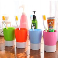 Wholesale Mara s Dream Candy color toothbrush holder rinsing mug Water cup Bathroom Products couple double brushing mouthwash cups