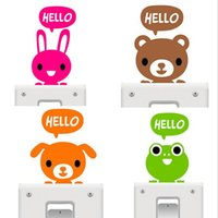 Wholesale 100PCS cute cartoon Creative Hello Cat Switch Stickers Wall Stickers Home Decoration Bedroom Parlor Decoration
