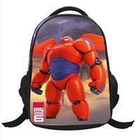 Wholesale 8 Styles Big Hero Children School Bag Super Marines Baymax Backpacks Pupils Kids Student Cartoon Schoolbag Girls Boys Gift