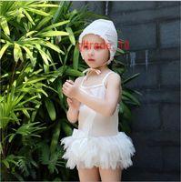 ballet swimsuit - 50 BBA5643 kids swan swimwear bathing suit swan swimming clothes bowknot beachwear suspender split bikinis tutu lace swimsuits Ballet skirt