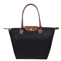 Cheap 100pcs lot 2015 New Foldable Tote Company Gifts Fashion Hobos Shopping Bag Joker Solid Shoulder Bags Casual Nylon Women Handbag