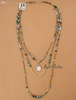 Cheap Wholesale-Newest Top Quality Full Handmade Natural India Agate with Seed Beads 3 Layered Necklace Bead Folk Style Necklaces