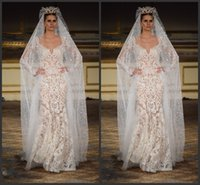 dresses new york - Berta New York Bridal Fashion Week New Mermaid Wedding Dresses Sexy V Neck Floor Length Spring Lace Bride Gowns With Long Sleeve Sequin