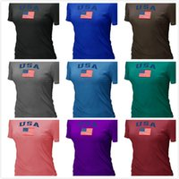 locker - Cheap women USA Olympics USA Flag Collection Locker Room Women s TShirt Black Short Sleeve O Neck Cotton TShirt Color