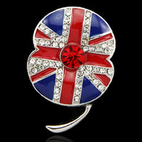 american flag brooches - UK Fashion Royal British Enamel UK Flag Poppy Brooch Luxury Crystal Poppy Flower Pins Brooch Sparkling Cubic Zircon Crystals