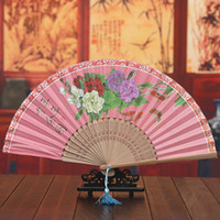 chinese dance fans - 10pcs Handmade Chinese Style Folding Handfans With Taasels Bamboo Silk Fans Women s Dance Accesories H135