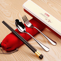 Wholesale Stainless steel spoon fork chopsticks set dinnerware sets solid outdoor travel creative kitchen cooking tools