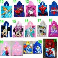60 TOPB4573 28 colores cabrito impresa secuaces de spiderman poncho sofia toallas de playa minnie congelado barbie fiebre manto albornoz KT zumbido autos toallas