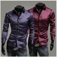 Casual Shirts Cotton Blend  2015 New Men's Long Sleeve Slim Fit Shirt Men Tide Products Silk Bright Casual Dress Cotton Shirts Tuxedo Shirts Free Shipping