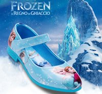 Wholesale Frozen Elsa Anna Print Cartoon Leather Kids Shoes Dresses Dancing Shoe Outwer Ball Gown Formal Children Girls Shoes Purple Blue Red C0003