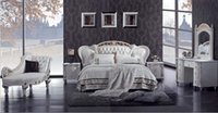 beds leather - Promotion Luxury Solid Wood Carving Prince Bed Top Grain Genuine Leather Gorgeous Bedroom Furniture D511
