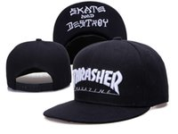Wholesale men black Thrasher Snapback Baseball Cap Snapbacks New Style Baseball Hats Adjustable Sports Caps Flat Hats Fashion Hiphop Hat LH