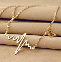 Wholesale 2015 GoldSilver Fine Jewelry Stainless Steel Unique Pendant Necklace Lifeline Pulse Electrocardiogram Pendant Heartbeat Rhythm Necklace