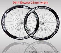 Wholesale 2014 newest mm width full carbon fiber road bike wheels Wheelset mm rim black white C carbon bicycle wheels