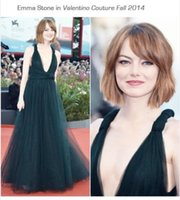 Cheap New Arrival Emma Stone In Valentino Couture Fall 2014 Celebrity Gown Straight Formal Evening Dress With Deep V Neck Bare Back Full Length LN