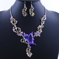 Wholesale 6 Colors Women Butterfly Flower Rhinestone Pendant Statement Necklace Earrings Jewelry Set Fashion Jewelry Bridal Wedding Dress Jewelry Sets