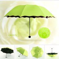 beautiful umbrellas rain - Beautiful Green NEW Colorful Anti UV Parasol Flower Folding Sun Rain Windproof Umbrella