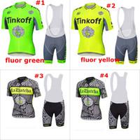 Wholesale 2016 fluor tinkoff Sportswear Mountain Bike Ropa Ciclismo MTB Bicycle Wear Cycling Jersey clothing Shirt top Bib Shorts sets