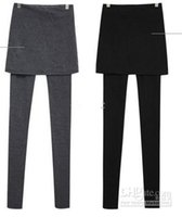 Wholesale Stretch Spandex Pants Wholesale - Women's Pants With Mini Faux Skirt Warm False Two Pieces leggings thin skirts Leggings Fashion Stretch 2 In 1 Pants