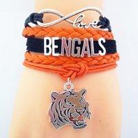 bengals sports - Custom Sports Bracelets Infinity Love Bengals Football Team Bracelet Orange Black Customize Sports friendship Bracelets Drop shipping