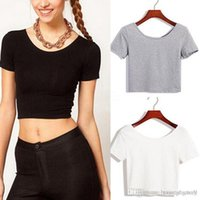 best basic t shirts - 2015 New Women Best Sell U neck Sexy Navel baring Crop Top Short Sleeve T Shirt Basic Stretch Tees WF A3