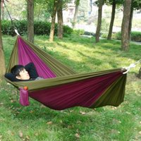 Wholesale Factory Price Portable Outdoor Traveling Camping Nylon Fabric Hammock for Two Person Multi Colors Drop Shipping
