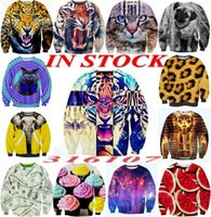Cheap hot 2014 Women Men animal Leopard tiger cat print Pullovers sudaderas 3d Sports sweatshirts Hoodies Space galaxy sweat suit tops