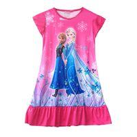 Wholesale 50pcs Frozen Princesses Elsa Anna Dora Doc McStuffins Olaf Sofia Tinkerbell Party Night Home Dress Children Clothes Free DHL Fedex