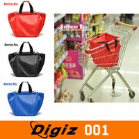 Wholesale SMILE MARKET piece Large capacity Foldable Trolley Supermarket Green Shopping Bag