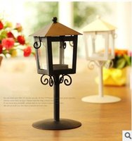 Wholesale Christmas Candle Holders European classical garden lamp lantern small kiosk iron candlestick Candlestick lamp export wedding