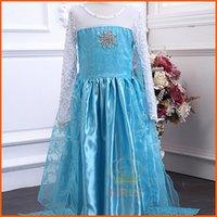 Wholesale Frozen Elsa Princess Summer Long Sleeve Dress Birthday Party Dresses Elsa Anna Princess Dress for Girls Kids