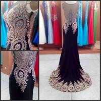 al por mayor dress for graduation-Luxury 100% real imágenes Negro Sheer cuello 2016 Formal Evening Prom Dresses Applique Celebrity Partido Partido Pageant India Graduación Árabe