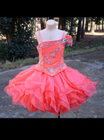Wholesale Cheapest Price Beads Charms - Off The Shoulder Coral Girls Pageant Dresses 2016 Ball Gown Mini Short Organza Cheap Price Tiered Charming Beaded Top Formal Dress For Event