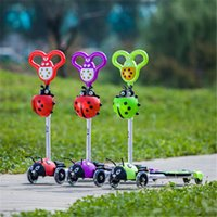 Wholesale New Arrival Kick Scooter with Led Light Wide Pedal Cute Beetle Pattern Push Scooter for Kids
