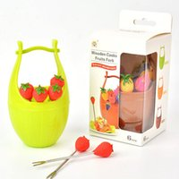 Wholesale 2015 Newly Arrival Fashionale And Creative Portable Bucket Modeling Fruit Fork With Fruits Photos Colors Dro Shipping HG