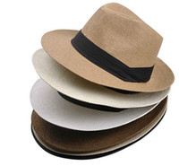 Wholesale 2014 New Men Women Unisex Summer Beach Large Brim Panama Paper Straw Sun Hat Cap