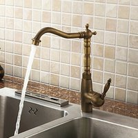 antique ceramic washbasin - Vintage antique brass kitchen faucet swivel spout sink mixer deck mounted cold and hot washbasin tap