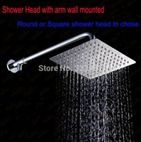 Cheap DIY Exposed Wall Mounted Shower Set including 8' Shower Head with arm and showerhead holder Refit shower kits diverter adapter