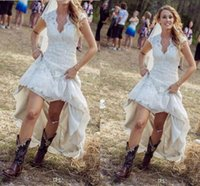 white high low dresses - Vintage High Low Wedding Dresses Online Sexy Sheer V Neck Capped Sleeves Pleats Country Style White Lace Boho Wedding Gowns