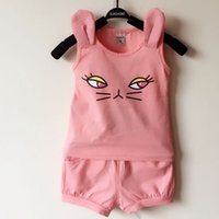 baby shorts modeling - 2015 Kids Summer Girls Cartoon Cat Modeling Vest Shorts Children Years Old Baby Cotton Suit