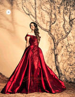 mid dress - 2015 High Quality Arabic A line Evening Gowns Dark Red Satin Off Shoulder Floral Appliques with Blink Crystals Mid east Formal Dresses