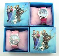 Precio de Gifts-10pcs / lot Congelado Elsa Anna niños relojes y relojes de la historieta Regalos de la fiesta con la caja al por menor