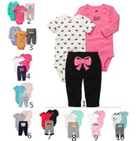 Wholesale Children Suits Hot Kids Spring and Autumn Comfortable and Cotton Girls Clothes Fashion Infant Cute Printing and Long Sleeve Baby Suits Three