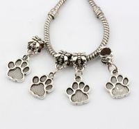 antique prints - Hot Sales Antique Silver Tone Paw Print Dangle Beads Fit Charm Bracelets DIY Jewelry x27mm