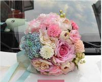 artficial flower - Pink Blue Romantic Bridal Hand Flower Rose Silk Cloth Unique Wedding Decoration High Quality wedding Fashion Artficial Bridal Bouque ZYY