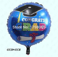 balloon animal hats - 50pcs cm Doctorial hat round shape helium balloon bule Happy graduation foil ballon for commencement decoration