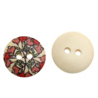 Wholesale 200PCs Wood Sewing Buttons Heart Flower Pattern Multicolor mm