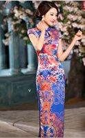 balck dress - Chinese classical dress long cheongsam outfit knitting flexibly blue purple red balck white silk satin Qipao dress QP1516